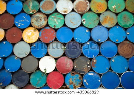 Gallons of oil were put multiple stacked. - stock photo
