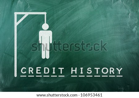 """gallows game-businessman bancruptcy on green blackboard and text """"credit history"""" - stock photo"""