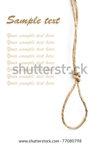 Gallows noose isolated on white background with sample text - stock photo