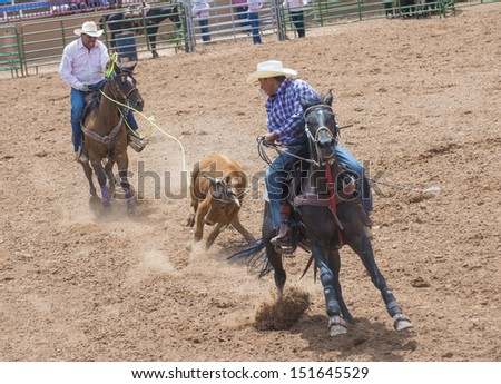 GALLUP , NEW MEXICO - AUGUST 10 : Cowboys Participates in a Calf roping Competition at the 92nd annual Indian Rodeo in Gallup, NM on August 10 2013 - stock photo
