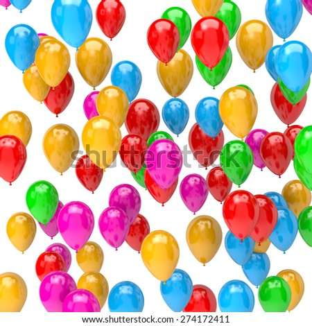 Galore of Vibrant Color Balloons on White Background 3D Illustration - stock photo