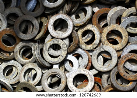 Galvanized steel spring washers, a shop floor item