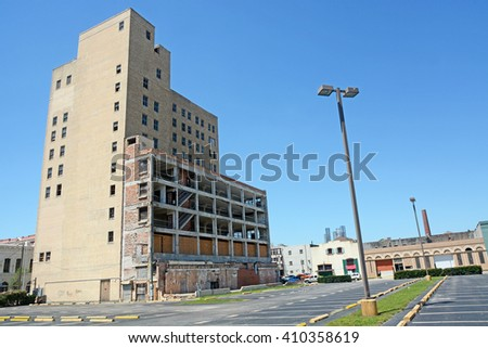 GALVESTON, TEXAS - APRIL 07, 2016: Abandoned parking building on Galveston city streets, Texas, North America - stock photo