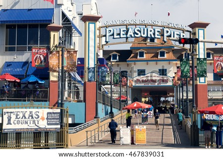 GALVESTON, TEXAS/USA - July 17, 2016: Galveston Island Historic Pleasure Pier