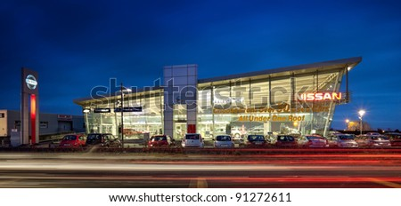 GALWAY - DECEMBER 20: Night view of Windsor Galway Ltd the largest retailer of Nissan vehicles outside Dublin, pictured on December 20, 2011 in Galway, Ireland.