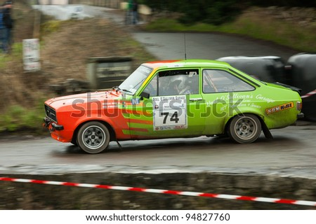 GALWAY - FEBRUARY 5:N.O'Sullivan driving Ford Escort Mk2 at annual Galway International Rally on February 5, 2012 in Galway, Ireland.