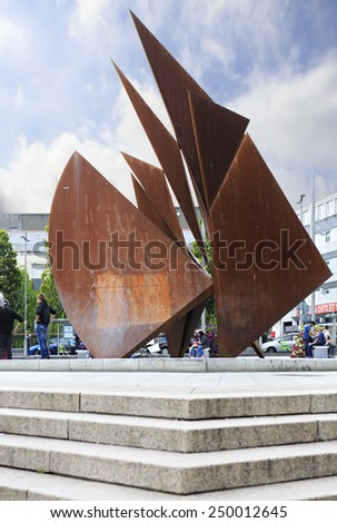 Galway, Ireland - August 26, 2014: Monument in the center of Galway in Ireland.