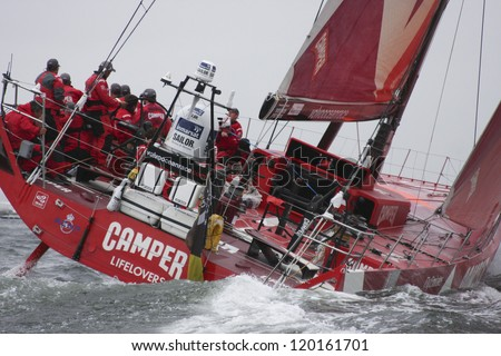 GALWAY, IRELAND - JULY 7: Chris Nicholson skippers  Camper Emirates with Team New Zealand  during In-port race of 2011-2012 Volvo Ocean Race in Galway, Ireland on July 7, 2012. - stock photo