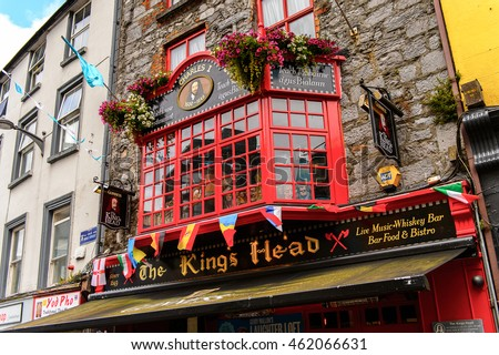 GALWAY, IRELAND - JULY 13, 2016: The Kng's Head Pub in Galway, Ireland. Galway will be European Capital of Culture in 2020