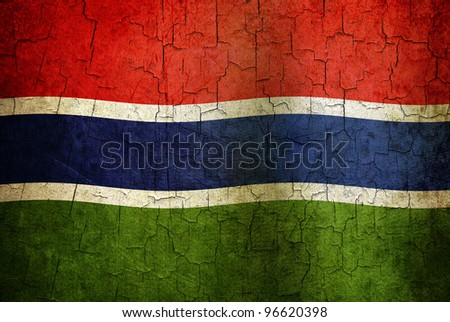 Gambia flag on a cracked grunge background - stock photo