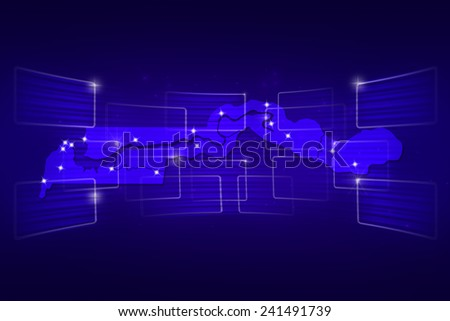 Gambia Map World map News Communication delivery blue - stock photo