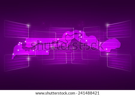 Gambia Map World map News Communication delivery purple - stock photo