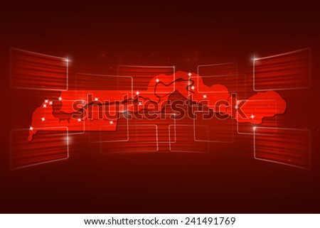 Gambia Map World map News Communication delivery red - stock photo