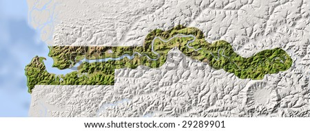 Gambia. Shaded relief map. Surrounding territory greyed out. Colored according to vegetation. Includes clip path for the state area.