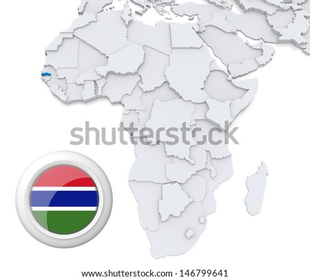 Gambia with national flag - stock photo