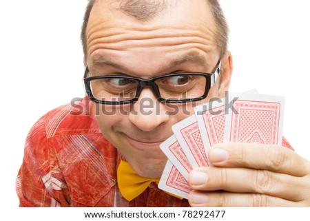 Gambler with playing cards isolated on white background - stock photo