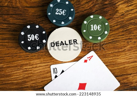 Gambling blackjack concept with betting chips and cards - stock photo