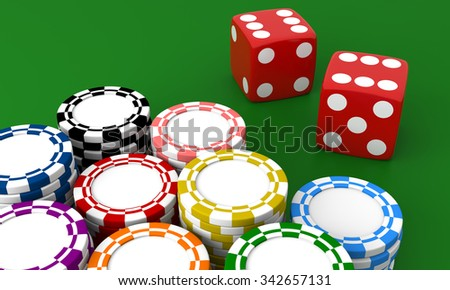 Gambling casino. Dice and chips on green isolated background.