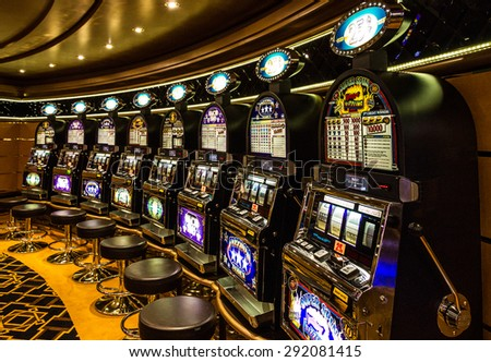 Gambling casino. Gaming slot machines in Cruise liner Splendida - stock photo
