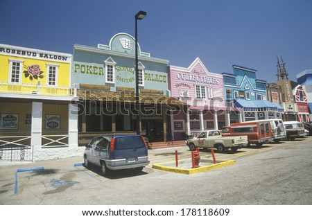 Gambling casinos and saloons in Old West town, NV - stock photo