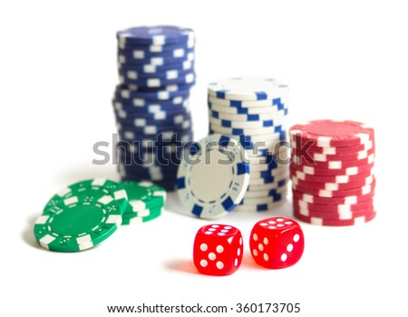 Gambling chips and dices isolated (DOF shallow)