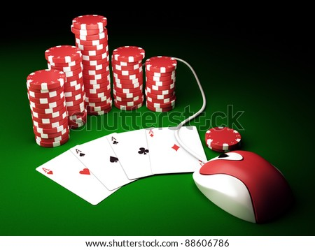 Gambling chips and poker cards on green carpet with computer mouse - 3D render - stock photo