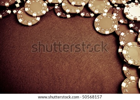 Gambling chips - grunge styled - stock photo