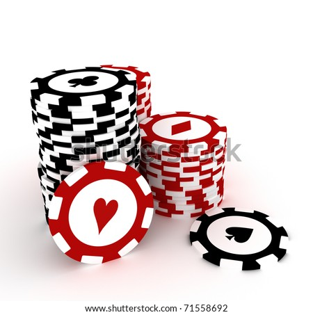 Gambling chips on white background