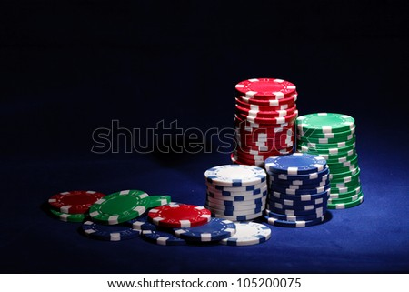 gambling chips with copy space - stock photo