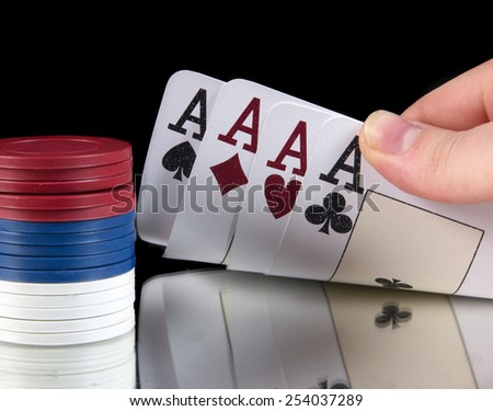 gambling concept,cards with chips - stock photo