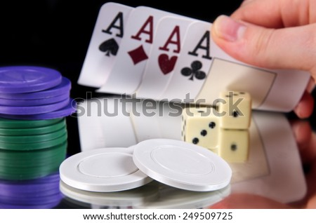 gambling concept,cards with stakes - stock photo
