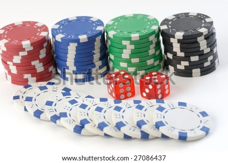 gambling dice and chips isolated on white