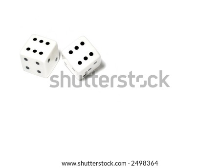 Gambling dices isolated on white (also available on black or green backgrounds) - stock photo