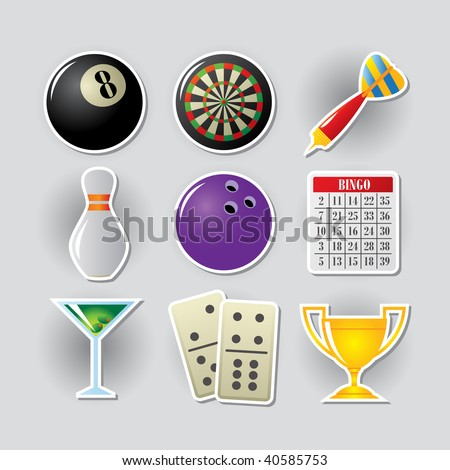 Gambling icon set for online casino or entertainment site. - stock photo
