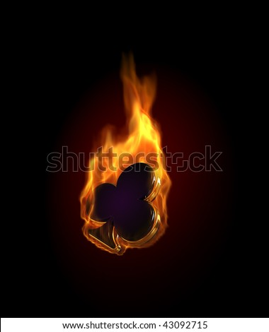 Gambling illustration with burning clubs - stock photo