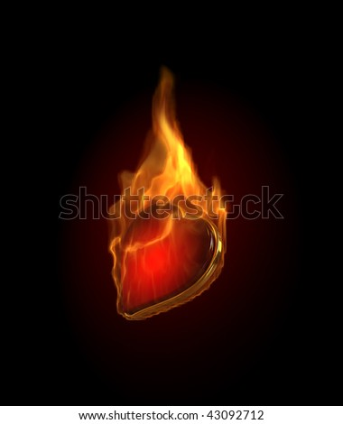 Gambling illustration with burning hearts - stock photo