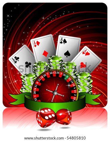 gambling illustration with casino elements and ribbon (raster format) - stock photo