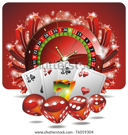 Gambling illustration with casino elements  (JPG) - stock photo