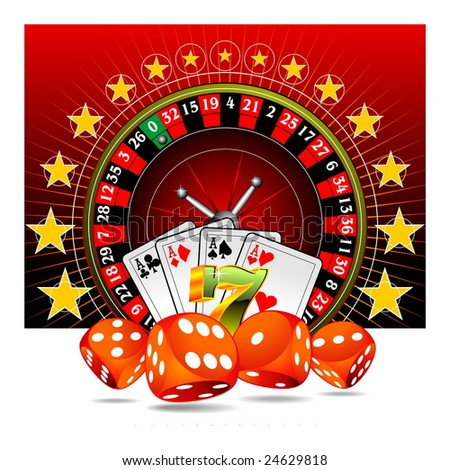 gambling illustration with casino elements on red background - stock photo