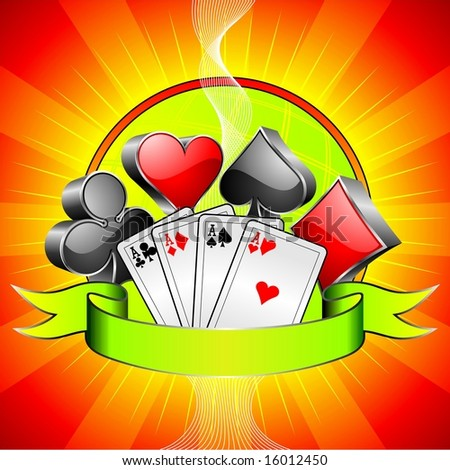 Gambling illustration with 3d casino symbols, cards and ribbon (jpg)