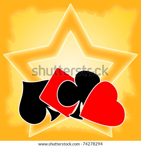 Gambling illustration with playing cards suits and golden star - stock photo