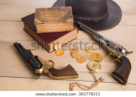 Gambling items, western American vintage concept - stock photo