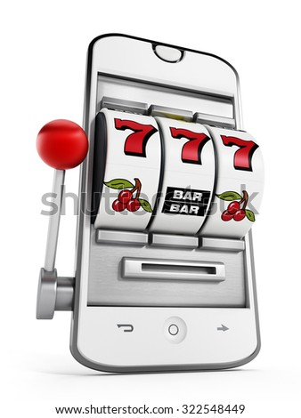 Gambling machine pointing jackpot on smartphone screen.
