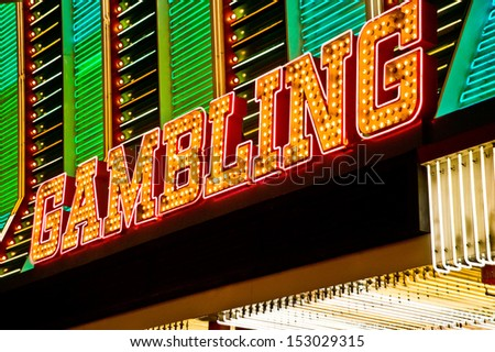 gambling neon sign - stock photo