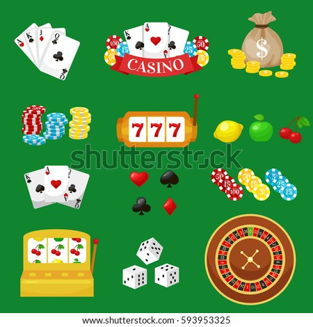 Gambling pictograms set. Deck of cards and casino, playing poker, venturesome game, dice ace illustration