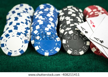 Gambling Poker Cards and Casino Money Chips