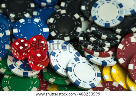 Gambling Red Dice and Casino Money Chips