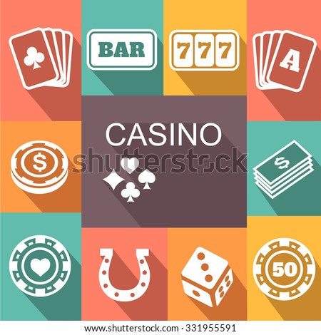 gambling related icons set Poster. Card and casino, poker game, dice concept - stock photo