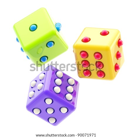 Gambling: set of three colorful glossy dices isolated on white