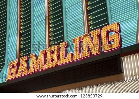 Gambling Sign in Las Vegas, Nevada, USA - stock photo